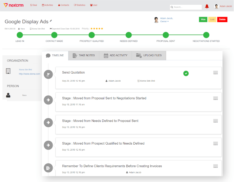 CRM Deal Timeline Feature